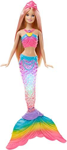 Barbie DHC40 - Dreamtopia Regenbogenlicht Meerjungfrau Puppe mit Lichtershow, Spielzeug für die...