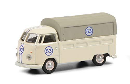 Schuco 452650300 VW T1 Pritsche #53, Modellauto, Maßstab 1:87, Elfenbein mit Startnummer