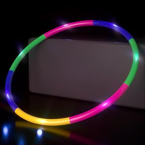 Leuchtende Hoola Hoop Reifen Kinder, 7 Abschnitte Hoola Hoop für Kinder Abnehmbare Fitness Hoola Hoop...