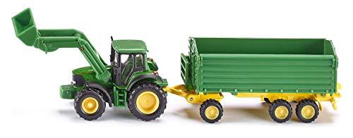 siku 1843, John Deere Traktor mit Frontlader und Anhänger, 1:87, Metall/Kunststoff, Grün, Kippbarer...