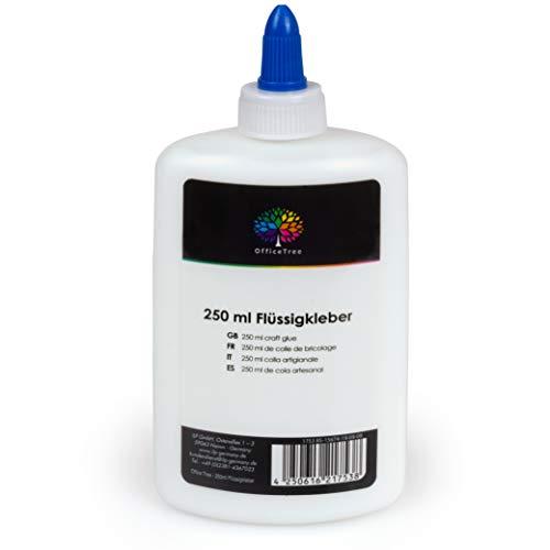OfficeTree 250 ml Flüssigkleber Bastelkleber Lösungsmittelfrei - Bastelleim Kleber für Kinder geeignet...