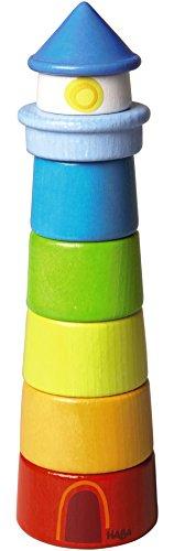 HABA 300170 – Stapelspiel Leuchtturm, Motorikspielzeug zum Sortieren von Größen und Farben,...