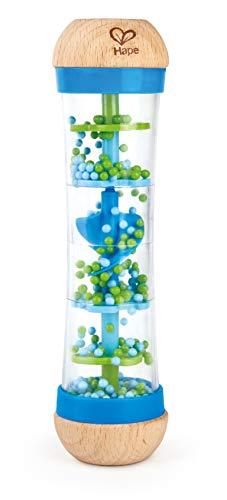 Hape Regenmacher | Mini-Rassel aus Holz Regenmacher-Spielzeug, Blau