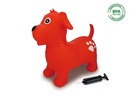 Jamara 460454 Hüpftier Hund rot mit Pumpe-bis 50 kg, fördert den Gleichgewichtssinn und die motorischen...