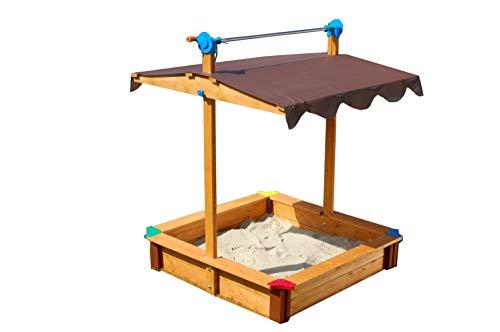 GASPO Sandkasten Felix | L 100 x B 100 x H 120 cm | Sandkiste aus Holz mit absenkbarem Dach | einfaches...