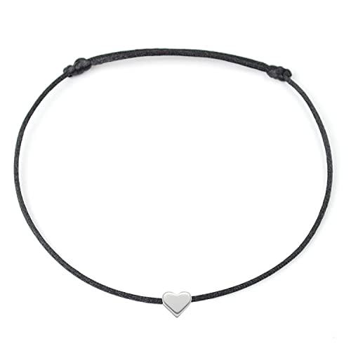 Fußkettchen Schwarz mit Silber Herz - Größenverstellbar - Sommer Fußbändchen mit Herzchen Satinband...