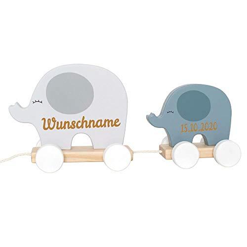 Nachziehtier Elefant aus Holz mit Namen und Geburtsdatum graviert grau
