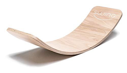 Puppenvilla Swing Balance Board aus Holz Transparent Lackiert, Yoga Kinder Wippe Therapie Kreisel Wackel...