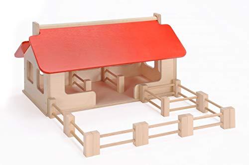 Großer Bauernhof + Zaunelemente (ohne Tiere!) / Material: Holz / Made in Germany / Maße: 55 x 32 x 28...