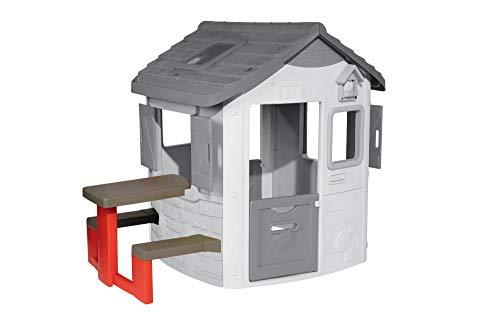 Smoby Picknicktisch für Smoby Spielhäuser Zubehör für Spielhaus, Sitzbank mit Tisch, grau, rot
