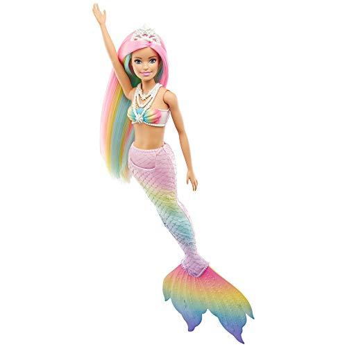 Barbie GTF89 - Dreamtopia Regenbogenzauber Meerjungfrauen-Puppe mit Regenbogenhaaren und...