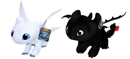 HTTYD Drachenzähmen leicht gemacht - Dragons - Pack 2 Plüsch Light Fury weiße + Ohnezahn Toothless...
