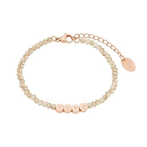 s.Oliver Armkette für Damen, Edelstahl, Glas'Love'