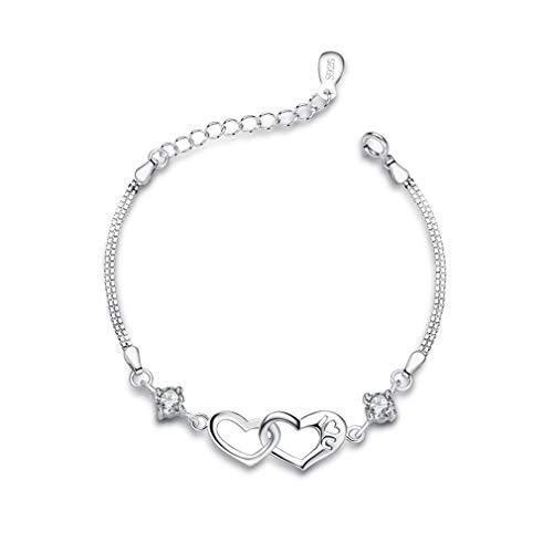 Bo&Pao 925 Sterling Silber Herz neben Herz Damen Armband mit Gravur I Love U, 16 + 3,5 cm Verstellbare...