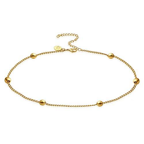 Good.Designs ® Goldene Damen Fußkettchen (verstellbar) Fuß Kette mit Pünktchen | Goldfarbene...