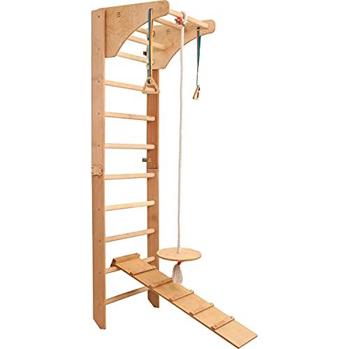 RINAGYM Kletterwand (Buchenholz) für Kinder - Indoor Klettergerüst aus Holz - Wand-Reck, Stange,...