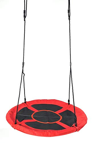 Nestschaukel 110 cm Garten-Schaukel Rundschaukel Tellerschaukel bis 150kg (Rot)