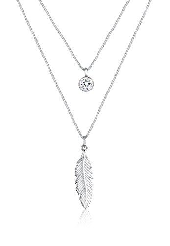 Elli Halskette Damen Feder Boho Kristalle in 925 Sterling Silber