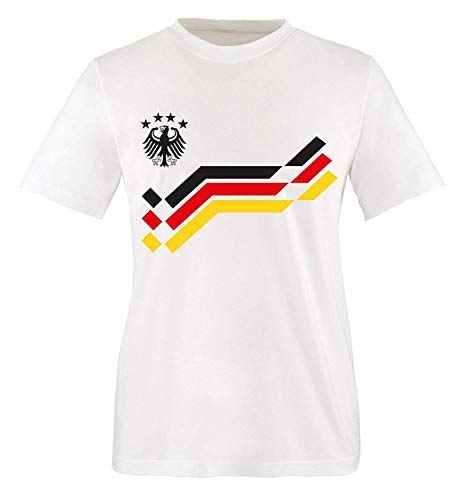EM 2016 - Retro-Trikot - WUNSCHDRUCK - Kinder T-Shirt - Weiss/Schwarz-Rot-Gelb Gr. 110-116