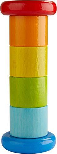 HABA 304817 - Regenmacher Farbenfroh, Baby-Spielzeug mit Rassel-Effekt in Regenbogenfarben, Holzspielzeug...