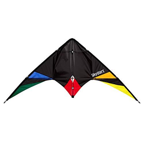 Wolkenstürmer Skydart Lenkdrachen mit Glasfaser-Gestänge, schwarz - Kite für Einsteiger und...