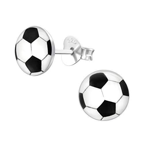 Bungsa© Fussball Kinder-Ohrstecker .925 Sterling Silber Dortmund München (Ohrringe Echtschmuck Studs...