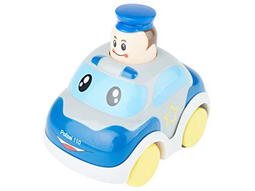 Bieco Drück & Los Flitzer Feuerwehr oder Polizeiauto, Spielzeug-Autos mit Aufzieh Mechanismus durch Kopf...