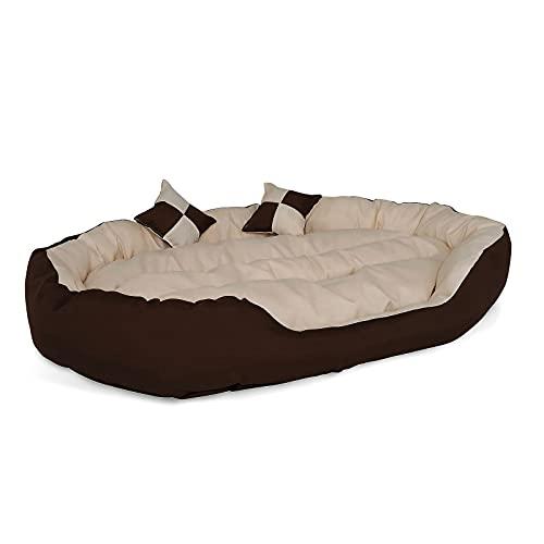 dibea 4-in-1 Hundebett Hundekissen Hundekörbchen mit Wendekissen (L) 110x80 cm braun/beige