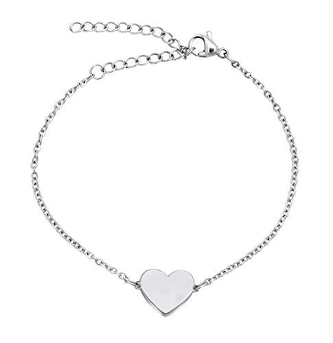 Nuoli® Herz Armband Damen Silber (15+5cm) süßes Herz Armkettchen für Frauen und Mädchen