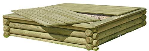 Sandkasten 180x180 cm aus Rundholz Ø 10 cm mit Deckel aus Holz, TÜV