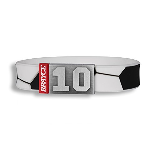 BRAYCE® Fußball Armband mit Deiner Trikot Nummer 00-99 I Fußball Trikot am Handgelenk für...