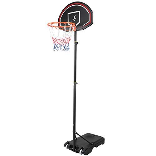YOLEO Basketballkorb für Kinder, 1,6 bis 2,1 Meter höhenverstellbar mit Ständer Korbanlage beweglich...
