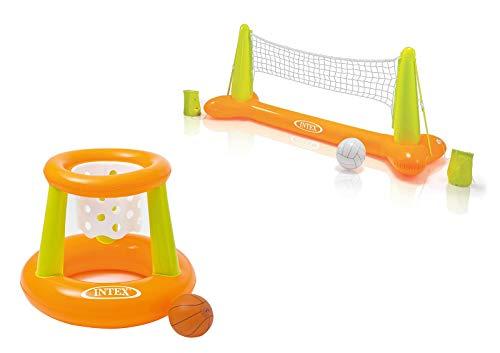 Intex Pool Game - Aufblasbares Wasserballspiel - Volleyballnetz (Pool Volleyball - Spiel + Floating Hoops...