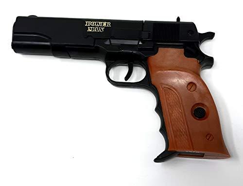 Brigamo Spielzeug Pistole Beretta Spielzeug Waffe mit Holzgriff Optik, Kinder Pistole für Polizei...