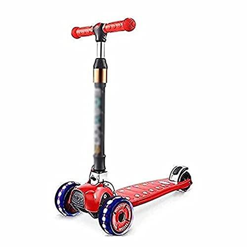 WZWHJ wunderschönen Verstellbare Griff-Dreirad-Roller, leichte Kinder und Damenroller mit LED...