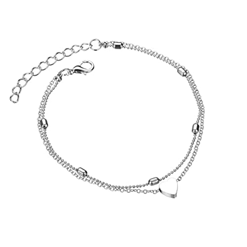 Elegantes Fußkettchen für Frauen / Damen / Jugendliche mit Herzchen Anhänger Farbe Silber/ Sexy...