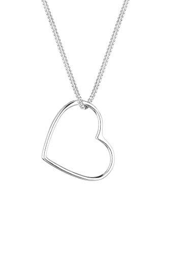 Elli Halskette Damen mit Anhänger Herz in 925 Sterling Silber 45 cm lang