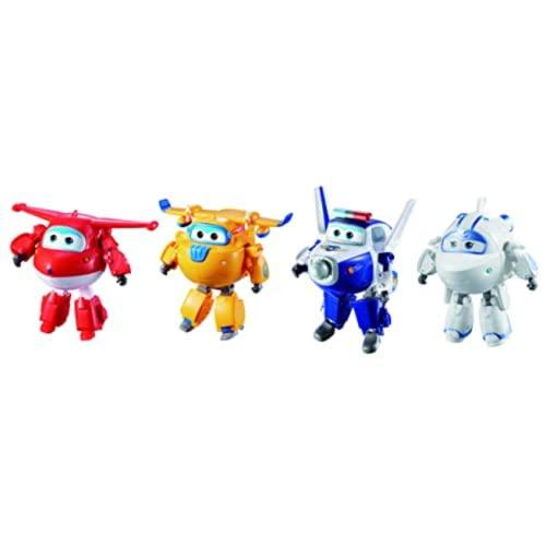 Super Wings Transforming-Set x4 verwandelbare Roboterfiguren der Animationsserie Kinderspielzeug ab 3...