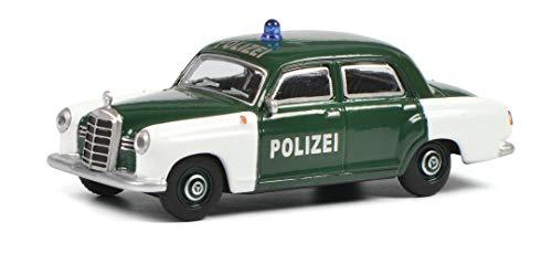 Schuco Mercedes Benz 180 D Polizei, Ponton (W120), Modellauto, Maßstab 1:64, grün/weiß, 452022300