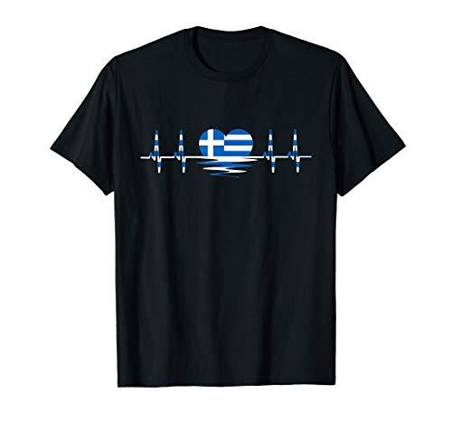 Griechenland Herzschlag Herz Griechische Flagge Griechenland T-Shirt