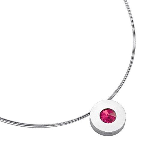Heideman Halskette Damen Lumen aus Edelstahl Silber farbend matt Kette für Frauen mit Stein Kristall...