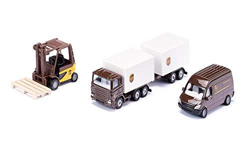 siku 6324, UPS Logistik Set, Metall/Kunststoff, Braun/Weiß, Viele Funktionen, Kombinierbar mit siku...
