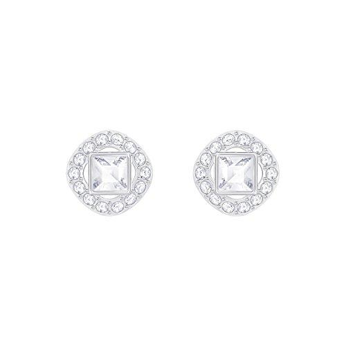 Swarovski Angelic Square Ohrringe, Weiße und Rhodinierte Ohrstecker mit Swarovski Kristallen und...