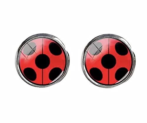 Miraculous Ohrstecker ladybug rot schwarze Punkte lady-bug kostüm handmade 12mm Motiv Edelstahl...