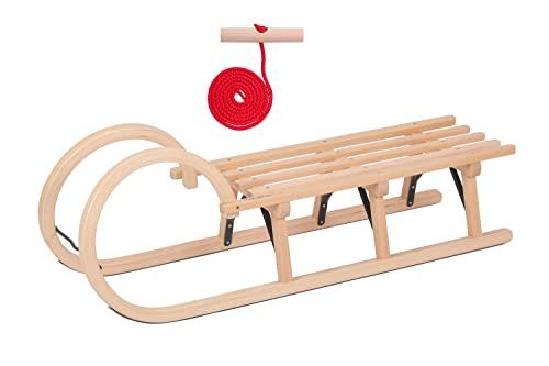 Hörnerschlitten 110 cm Holzschlitten Schlitten Holz Rodel Hörner mit Metallstreben Schneeschlitten