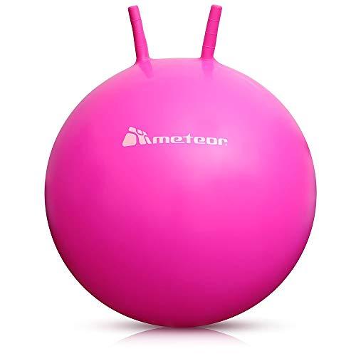 meteor® Bouncy Hüpfball Gummiball Hopsball Sprungball Springball Hopser (Rosa, 65cm)