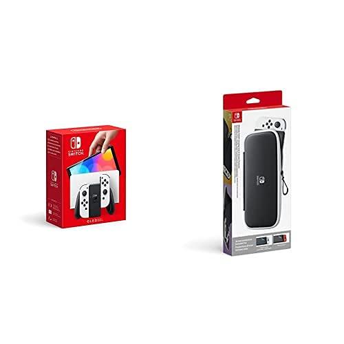 Nintendo Switch (OLED-Modell) Weiß + Tasche & -Schutzfolie - Schwarz/Weiß