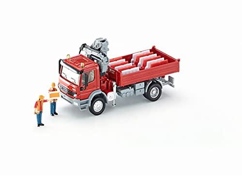siku 3534, LKW mit Ladefläche und Kran, 1:50, Metall/Kunststoff, Rot, Inkl. 2 Spielfiguren und 12...