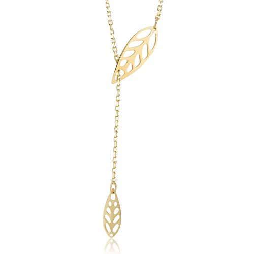 Damen Halskette aus 14 Karat - 585 Echt Gelbgold Kette mit Anhänger als hängenden Blätter, Geschenk...