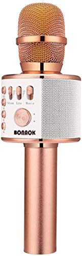 Bluetooth Karaoke Mikrofon Kinder, BONAOK Drahtlose Dynamisches Mikrofon mit Lautsprecher, Familie Party...